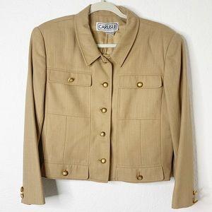 Carlisle 100% Wool Tan Cropped Blazer Jacket - LRG
